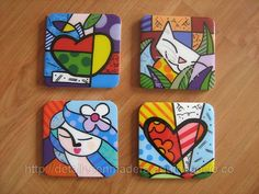 Portavasos Britto Art Pop, Ceramic Painting, Stone Painting, Painted Rocks, Hand Painted, Inspiration Artistique, Mini Canvas Art, Mobile Art, Happy Paintings