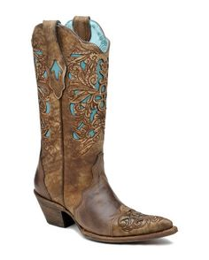 Corral Brown & Turquoise Floral Tool boots were the most pinned boots from CountryOutfitter.com this week. Love them! http://www.countryoutfitter.com/products/27488-womens-brown-turquoise-floral-tool-boot-c1620 #cowgirlboots