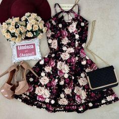 Vestido Luana 3  Gota  Neoprene C/ BOJO( Estampa  Flowers Luvre/ Fundo Preto)