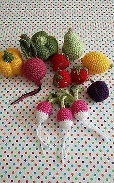 Crochet play food Fruits Vegetables Soft Pear Radish Beetroot Plum Strawberry Pepper Lemon