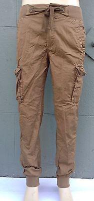 Mens Light Weight Cotton Slim Fit  Cargo Pocket Joggers Pants Khaki Size 32~ 44