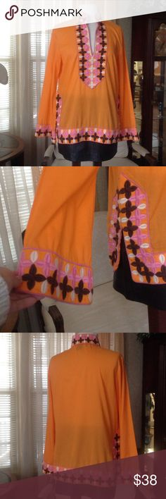 Boston Proper orange embroidered tunic In excellent condition. Probably worn just once. No holes or stains.                                          d Boston Proper Tops Tunics