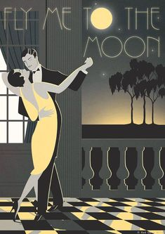 Original Design A3 Art Deco Bauhaus Poster Print Frank Sinatra Fly Me To The Moon Vintage Dance Tango Romantic Couple Vogue 1940's 1930's #vintageposters