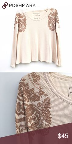 Free People Trapeze Waffle Knit Sweater Adorable Mandela sweater by Free People in cream with detailing on both shoulders. Waffle knit, and trapeze style with raw-gem detailing. Free People Sweaters Crew & Scoop Necks