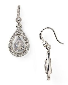 Carolee Teardrop Earrings - Silver Crystal Pave | Bloomingdale's