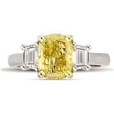 2.75 ct. t.w. Cushion-Cut Yellow Diamond Ring