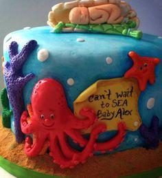 Under the Sea baby shower cake fondant cake.