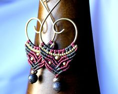 Red and Green Macrame Earrings,Tribal Earrings, Statement Earrings, Bohemian Earrings, Macrame Jewelry.