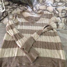Loft sweater V neck gold and cream striped LOFT Sweaters V-Necks