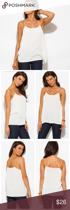 """SALESpaghetti Strap Tank Top✨ Gorgeous ivory/tan tank blouse with a sexy twist! Pair with a blazer for work or wear it out for the perfect date night look.  ⭐️100% Rayon ⭐️Sm(2/4)Med(4/6)Lg(8/10)  ⭐️Adjustable Spaghetti Straps ⭐️Paired with my Faded Denim Jeans also Available  ⭐️Lightweight/Semi Sheer  (If """"applicable""""this item includes sales tax  to the nearest mil') Tops Tank Tops"""