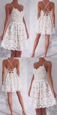 Spaghetti Straps Homecoming Dresses,White Lace Homecoming Dresses,Short Homecoming Dresses,Homecoming Dresses 2017