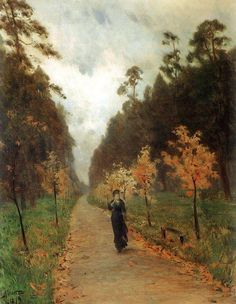 """Autumn Day. Sokolniki Park"" (1879) By Isaac Levitan (Исаа́к Ильи́ч Левита́н), from Russia (1860 - 1900) The artist Nikolay Chekhov, painted the figure of the woman. - oil on canvas -"
