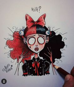 Melanie Stressed out! Tim Burton Drawings Style, Tim Burton Art Style, Arte Tim Burton, Art Drawings Sketches, Cool Drawings, Melanie Martinez Mad Hatter, Desenhos Tim Burton, Melanie Martinez Drawings, Horror Art
