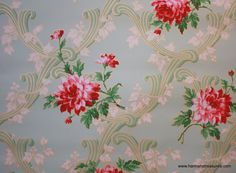 Vintage Wallpaper Dark Pink Floral on mint green Shabby Chic Wallpaper, Victorian Wallpaper, Fabric Wallpaper, Flower Wallpaper, Pattern Wallpaper, Wallpaper Samples, Flower Patterns, Print Patterns, Shabby Chic Tapete