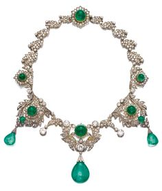 An antique emerald and diamond necklace, late 19th century. Of foliate design set with cabochon emeralds, cushion-shaped, circular-, single-cut and rose diamonds, supporting three drop-shaped emeralds capped with rose diamonds, central motif and largest drop detachable, length approximately 430mm. #antique #necklace