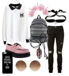 """Headz Will Roll"" by averina30 on Polyvore featuring Vox Populi, AMIRI, Yves Saint Laurent, Aamaya by priyanka and Victoria Beckham"