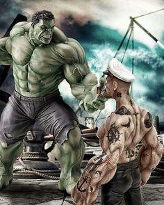 Boa noite Fogueteiros! #boanoite #espaçofogueteiros #geek #nerd #féemdeus #Art #hulk #popeye #spinish #marvel #sailorman #crossover #dopeart - #regrann