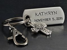 Personalized Stamped Dog Tag Key Chain