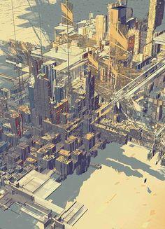Cityscape by Atelier Olschinsky Architecture Graphics, Architecture Drawings, Futuristic Architecture, Architecture Panel, Architecture Portfolio, Architecture Design, Illustration Art, Illustrations, Landscape Concept