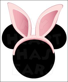 Mickey Mouse with Pink Easter Bunny Ears INSTANT DOWNLOAD digital clip art Printable DIY iron on transfer for t-shirts by My Heart Has Ears