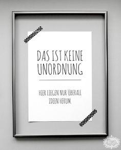 Digitaldruck - 'UNORDNUNG vs. IDEEN' DinA 4 Typo Druck - ein Designerstück von cute_as_a_button bei DaWanda