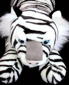 "People Pals Huge White Tiger Plush Cat Aurora 28"" Soft Toy Stuffed #PeoplePalsAurora"