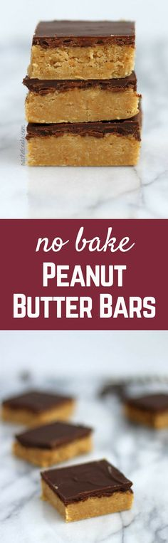 No Bake Peanut Butter Bars {taste just like Reese's!} | http://RachelCooks.com