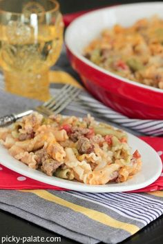 Queso Taco Pasta Bake! Great weeknight dinner with a homemade queso sauce!