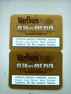 $10 Marlboro Coupons,4 $1.50 Off Each Pack & 2 $2.00 off each pack