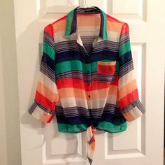 Striped Top This is a bright button up top that can be tied. Sleeves can be rolled up and secured with a button. Cute colors! Bundled Discounts! Tops