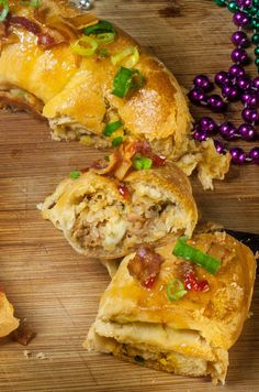 Melted cheese and spicy boudin royally redefines the Mardi Gras king cake from My Acadiana Table.