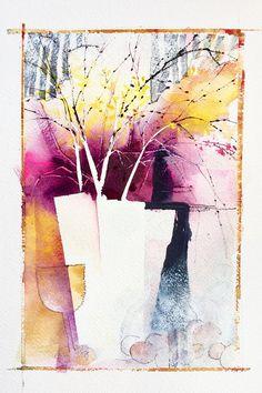 6 x 9 Original Art Art de laquarelle fleur Art