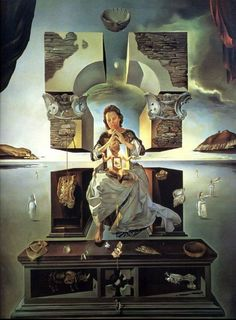 Salvador Dali: The Madonna of Port Lligat (one of two paintings by S. Dali of the same name, the first being completed in paint on canvas. Max Ernst, Salvador Dali Gemälde, Salvador Dali Paintings, La Madone, Spanish Artists, Magritte, Art Moderne, Pablo Picasso, Art Plastique