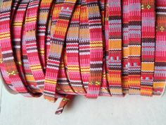 Ethnic style woven trim  BRIGHT PINK TWO yards of by TintinBeads