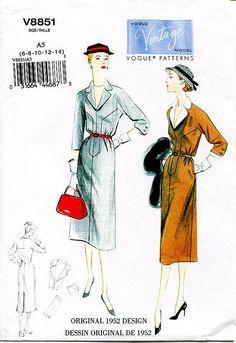 Sz 6/8/10 Vogue Original Design Pattern V8851 - Misses' Yoked Front One-Piece Dress & Belt - Vintage Vogue 1952 Dress Pattern