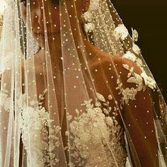 Véu bordado de pérolas