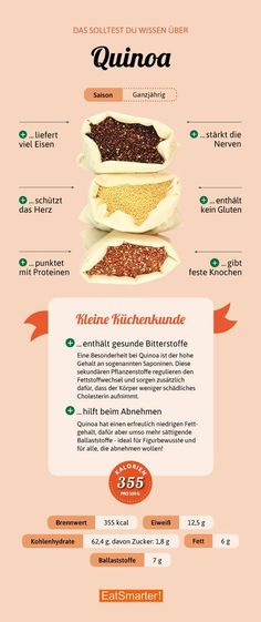 Quinoa - so healthy is the Inca ice - Gesundheit - Nutrition Healthy Nutrition, Nutrition Tips, Healthy Life, Healthy Eating, Healthy Recipes, Nutrition Tracker, Nutrition Quotes, Clean Eating, Food Facts
