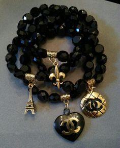 37d765414fb7 Chanel Charm Stack Bracelets Etsy.com ArmCandy DesignsbyZ