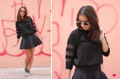 Zara Sweater, Other Stories Neoprene Skirt, Nike Roshe Run