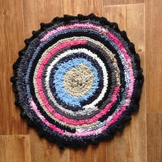 Small pink blue round rug, Crocheted upcycled area rag rug, Pets pet cats door mat bed, Shabby shair seat stool pad Cat mat rug, Crochet mat