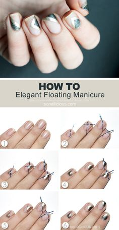 If you like edgy, elegant nails designs this Floating negative space manicure is for you! Learn how to do it yourself in 6 easy steps with our tutorial. Elegant Nail Designs, Elegant Nails, Nail Art Designs, Nails Decoradas, Tape Nail Art, Negative Space Nails, Nagel Hacks, Geometric Nail, Diy Nails