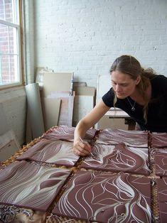 Carving wall tile, Natalie Blake Studios: http://natalieblakestudios.com/2012/08/14/creating-a-new-mural/ #tileart