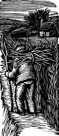 Gwen Raverat wood engraving Going Home, Farmer's Glory 65 x 29mm, block cut 1934.