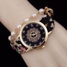 Bohemian Fabric Band Pearl Bracelet Watch