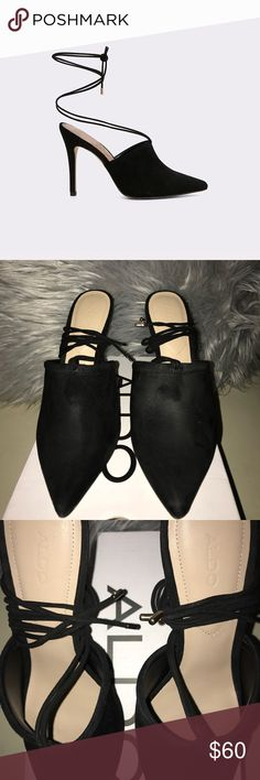 🌟ALDO CAROLINA STRAPPY MULE🌟 Worn Once  In EXCELLENT condition   Style notes  Mules go major. This sharp pair laces around the ankle for high drama.  Materials  Upper: Leather Suede Lining: Synthetic Sole: Synthetic Aldo Shoes