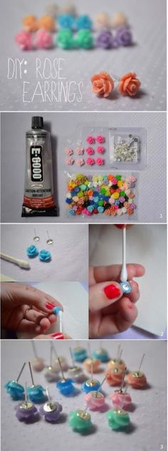 DIY Earrings and Homemade Jewelry Projects - Rose Earrings - Easy Studs, Ideas with Beads, Dangle Earring Tutorials, Wire, Feather, Simple Boho, Handmade Earring Cuff, Hoops and Cute Ideas for Teens and Adults http://diyprojectsforteens.com/diy-earrings