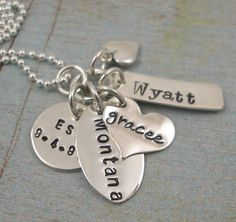 Mothers Day Jewelry - Charm Necklace - Personalized Necklace - Hand Stamped Jewelry - Mixed Tag Necklace