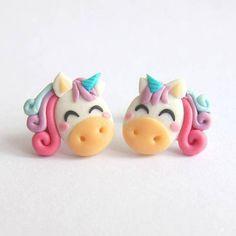 Rainbow Unicorn Earrings, Unicorn Jewelry, Horse Earrings, Horses, Pony Jewelry, Ponies Earrings, Girls Earrings Girly Jewelry Fimo Earrings