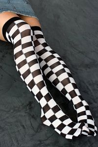 """Tabbisocks: Harajuku Checkered OTK in """"Black & White"""" / """"These are a beautifully woven nylon sock with a finished cuff, formed and seamless heels, toe seams and a woven design. Pattern extends all the way to the toes. Thigh High Tights, Knee High Stockings, Thigh Highs, Stockings Outfit, Stocking Tights, Sexy Socks, Cute Socks, Patterned Socks, Striped Socks"""