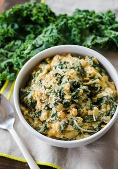 Smoky Creamed Kale - Butter, garlic, parmesan... yum!  A few subs (flour & milk) and this looks like a tasty way to convince my husband to eat kale.